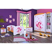 Preisvergleich für naka24 5-teiliges Set Jugend- Kindermöbel Prinzessin MIT SCHMETTERLINGCHEN Kinderbett