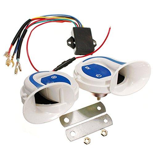 XCXpj Elektrische Digitalsirene Schnecke 12 V Weiß Blau