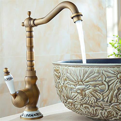 Quyanre Retro Antique Brass Becken Wasserhahn Porzellan Creamic Einhebelmischbatterie 360 Rotation Bad Wasserhahn