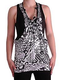 EyeCatch - Womens Sleeveless Print Ladies Twinset Necklace Fashion Top