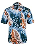 APTRO Herren Hemd Hawaiihemd Freizeit Hemd Kurzarm Urlaub Hemd Reise Shirt Orange HW025 XXXL