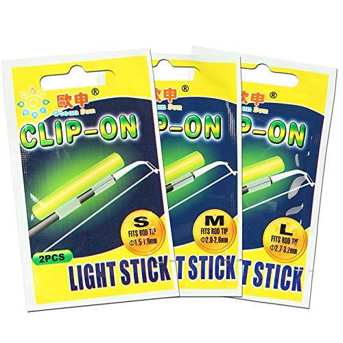 HATCHMATIC Clip On! 20Pcs (10) XL L M Nachtangeln Beleuchtung Stock-Grün chemischen Glühen Stick Angeln Licht-Stick FU020: L 2.7-3.2MM