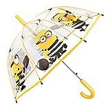 Minions Kinder Schirm für Jungen - Stockschirm mit Ich - Einfach Unverbesserlich Motiv - Robuster und Windfester Regenschirm mit Transparenter Kuppel - 5 bis 8 Jahre - Durchmesser 74 cm - Perletti