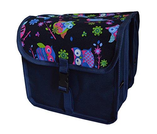 FAHRRADTASCHE Kinder Satteltasche Gepäckträgetasche Doppel 2 x 5l (4. Mini - Eule dunkel)