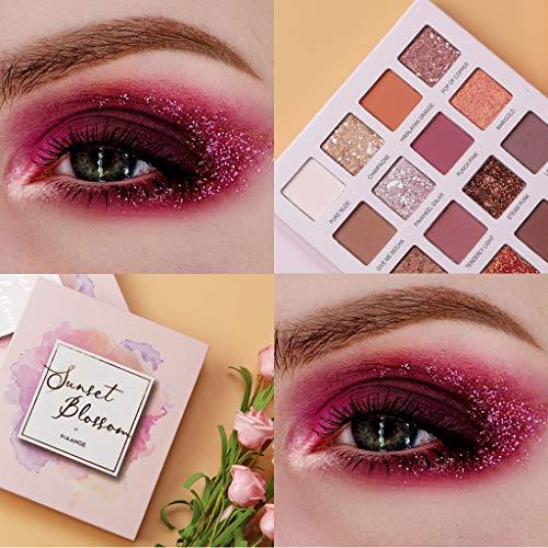 VANMO Kosmetik Lidschatten, 16 farbige Rosa Pailletten Glitter Lidschattenplatte glänzend Lidschatten Glitter Pulver Hochglanz Lidschatten -