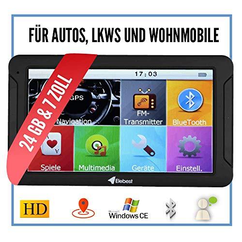 Elebest City 70 Navigationsgerät Auto - 7 Zoll HD Display, Freisprecheinrichtung, lebengslanges Karten Update, Blitzerwarner, Bluetooth, 24 GB, SD Karte, starker Akku, inkl. Halterung und Ladekabel
