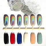 Polvos Para Decoración de Uñas, AIDEU 1 Gramo Por Caja Uñas Brillo Polvo Espejo Cromo Polvo para Maquillaje Uñas DIY con El Palillo de La Esponja