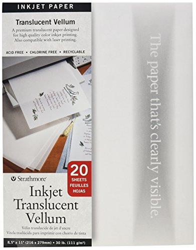 Strathmore 598030 20-Sheet Inkjet Translucent Vellum, 8.5 by 11-Inch