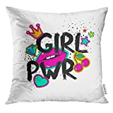 Cupsbags Throw Pillow Cover Feminism Slogan with Lettering Girl Power Colorful Fun Girly Stickers Patches Pins in Cartoon 80S 90S Decorative Pillow Case Home Decor Square 18x18 Inches Pillowcase