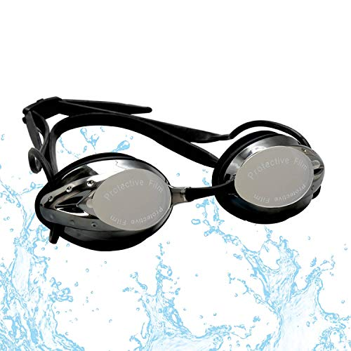 FTALGS Schwimmbrillen,Ohrstöpsel & Nasenklammern mitgeliefert, Linse UV-Schutz Wasserdicht Anti Nebel Verstellbar Gurt Komfort Fit für Unisex Erwachsene Jugendliche (Schwarz)