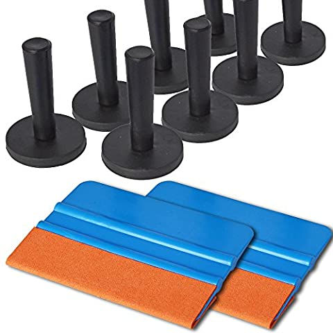 Ehdis® Car Vinyl Wrapping Tool Kits Suede Felt Squeegee x 2, Magnet Holder x 8 for Film Tinting Application - 1