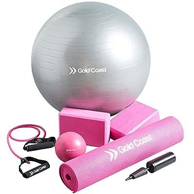 Gold Coast 7-teiliges Yogamattenset mit Matte, Gymnastikball, Sanbefüllter Straffungsball, 2 x Yogawürfel & Widerstandsschlauch
