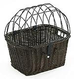 Tigana - Fahrradkorb aus Weide mit Gitter und Kissen für Lenker 45 cm - Braun (B-S)