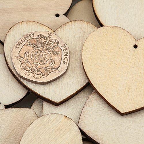 30 Cuori di legno naturale con foro, perfetti per decorare e personalizzare le vostre creazioni Hearts (35mm)