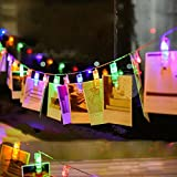 Foto Clips Lichterkette, 20er LED Partylichterkette, Dauerlicht für Bilder Fotos Karten Hängen,Deko für Innen Party Hochzeit Feiertag, Batterie-betrieben 2.2m Colorful