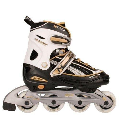 Nijdam Jungen Schlittschuh Verstellbare Inline-Skates, Jr - schwarz silbergrau gold EU 30 - 33