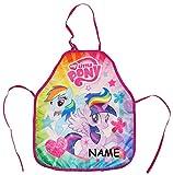 My little Pony  - Kinderschürze - incl. Name - größenverstellbar - Schürze / beschichtet - Mädchenschürze - für Mädchen - Kinder - Backschürze / Bastelschürze / Gartenschürze - malen kneten kochen - abwaschbar - Kindergarten & Schule - Malschürze - Pferd Einhorn