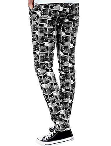 Hommes Imprimé Taille Moyenne Braguette Zip Fermeture Bouton Slim Fit Pantalon Décontracté noir-géométriques Impressions