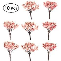 OUNONA 10 Stücke Modellbäume Mini Kirschbäume Miniatur Landschaft Bäume (6,5 cm)