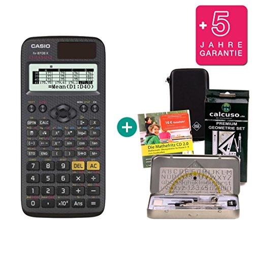 Streberpaket: Casio FX 87 DE X + Schutztasche + Lern-CD + Geometrie-Set + Erweiterte Garantie