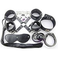 Dopobo 8 pièce Bondage et SX-Toys en cuiravec des menottes costume fers de jambe de collier attaché servitude de corde fouet bouche(noir)
