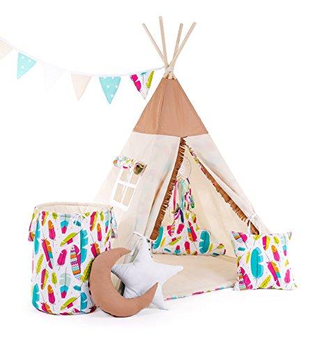 Indianerzelt Tipi Set für Kinder| Spielzeug Spielzelt Zelt mit Korb Tipi-Set Indianer Indianertipi (Tipi mit 8 Elementen, Pocahontas) (Pocahontas Zubehör)