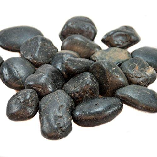 1,5 kg Flusskiesel Dekosteine schwarz poliert Kieselsteine als Streudeko oder Zierkiesel. Steine zum bemalen und beschriften als Tischdeko Hochzeit Flache Steine abgepackt in 3 x 500g Beutel (Stein Poliert, Flacher)