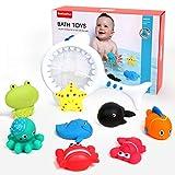 BeebeeRun 9 Stück Badespielzeug Set Angelspiel Mit Fischernetz Badewanne Spielzeug Wasserspielzeug für Kinder Baby 3 4 5 Jahre