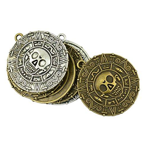 MagiDeal 8er Set Antik Bronze Silber Tibetanische Anhänger Münze mit Schädel Charms DIY Basteln Schmuckanhänger für Halskette Kette DIY Handwerk