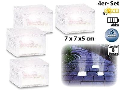 Lunartec Solar-LED-Glasbaustein mit Lichtsensor 4er-Set klein (7x7 cm) von Lunartec auf Lampenhans.de