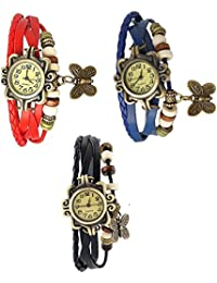 RTimes Red, Blue and Black Vintage Designer Leather Set of 3 Multicolor Bracelet Butterfly Watch for Girls, Women