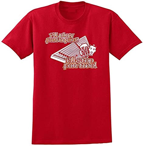 Dulcimer Hammered Play For A Pint - Red Rouge T Shirt Taille 87cm 36in Small MusicaliTee