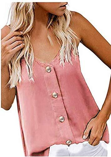 FRAUIT Camisa Sin Mangas con Botones de Moda Blusa de Mujer con Cuello de Pico Camisetas Sin Mangas Casuales Camiseta de Tirantes para Mujer Tirantes de Camisa Chaleco de Verano