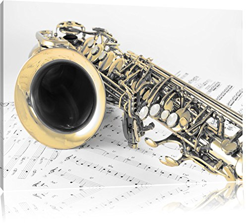 Saxophon auf Notenpapier Schwarz/Weiß, Format: 80x60 auf Leinwand, XXL riesige Bilder fertig gerahmt mit Keilrahmen, Kunstdruck auf Wandbild mit Rahmen, günstiger als Gemälde oder Ölbild, kein Poster oder Plakat