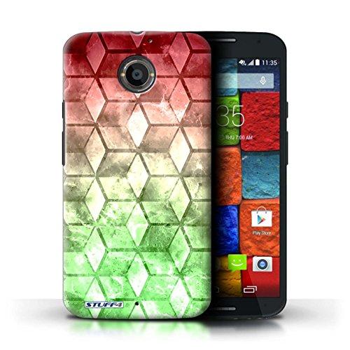 Kobalt® Imprimé Etui / Coque pour Motorola Moto X (2014) / Jaun/Vert conception / Série Cubes colorés Rouge / Vert