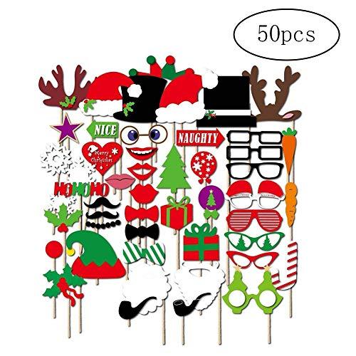 Newin Star Christmas Santa Hut-Partei-Schablonen Photo Booth Props mit einem Stock - Packung mit 50 (Bulk Hüte Weihnachten)