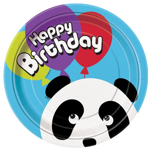 8-Assiettes-en-carton-Anniversaire-Panda-23-cm