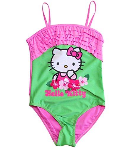 Hello Kitty Badeanzug Kollektion 2018 Badesachen 92 98 104 110 116 122 128 Mädchen Schwimmbekleidung Sommer (Rosa-Grün, 104-110)