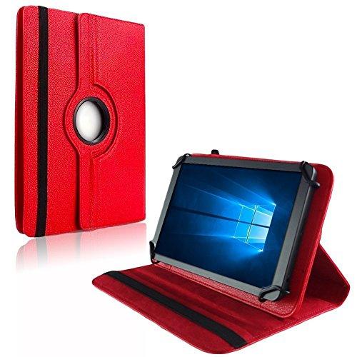 NAUC Tablet Hülle f Blaupunkt Atlantis Discovery 1001A Tasche Schutzhülle Case Cover, Farben:Rot