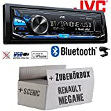 Renault Megane & Scenic 2 - JVC KD-X341BT - Bluetooth | MP3 | USB | Android | iPhone Autoradio - Einbauset