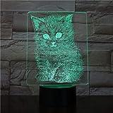 Cats 3D Lamp Animal Unique Festival Present for Kids Nightlight Lampada a LED per illuminazione notturna a batteria per arredamento