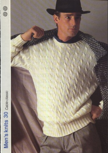 GET KNITTING knitting pattern CLASSIC MENS CABLE SWEATER (36-40in) (Men's Knits)