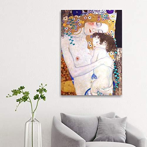 Cuadros L & C Italia la maternidad–Klimt–Tres Edades De La Mujer Marco moderno 50x 70cm Già ConKrea de colgar a pared impresión sobre lienzo Autori Artisti famosi cuadros modernos Sala de estar dormitorio de cama Pósteres Arte Muebles Salón Oficina Camera de cama cocina Hotel Canvas