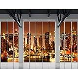 Fototapeten Fenster nach New York 352 x 250 cm Vlies Wand Tapete Wohnzimmer Schlafzimmer Büro Flur Dekoration Wandbilder XXL Moderne Wanddeko - 100% MADE IN GERMANY - NY Stadt Runa Tapeten 9187011c