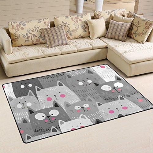JSTEL INGBAGS Teppich, super weich, modern, niedliche Katzen, bunt, Wohnzimmerteppich für Kinder, Spielteppich und Teppiche, 79 x 51 cm, Multi, 60 x 39 inch - Elfenbein Blumen-bereich Teppich