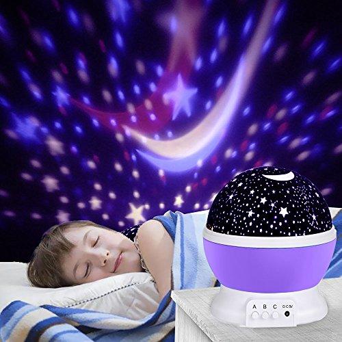 LED Star Projektor, Ubegood Sternenhimmel Projektor Romantische Nachtlicht 360 Dreht Grad Projektor lampe 4 pcs LED-Kornen Perfekt für Geburtstag,Parteien,Kinder Zimmer,Weihnachten,Hochzeit - Purple