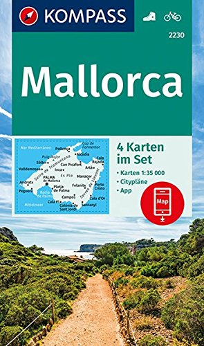 KOMPASS Wanderkarte Mallorca: 4 Wanderkarten 1:35000 im Set inklusive Karte zur offline Verwendung in der KOMPASS-App. Fahrradfahren. (KOMPASS-Wanderkarten, Band 2230)