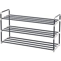 SONGMICS Shoe Rack Storage Shelves Hold up to 15 Pairs of Shoes 92 x 30 x 54 cm (W x D x H) Grey Steel Tubes LSA13G