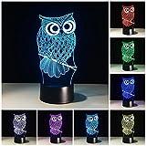 3D Illusion Geburtstag Nachtlicht, 7 Farben ändern Touch LED Lampe für Kinder Geburtstagsgeschenk (Eule)