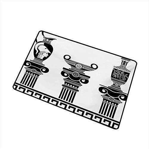 LiminiAOS Fußmatte Griechische Vasen und ionische Säulen Künstlerisches Design Amphore Antike Kultur Fangstaub Schnee und Schlamm Schwarz und Weiß